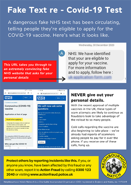 Fake vaccine scam infographic