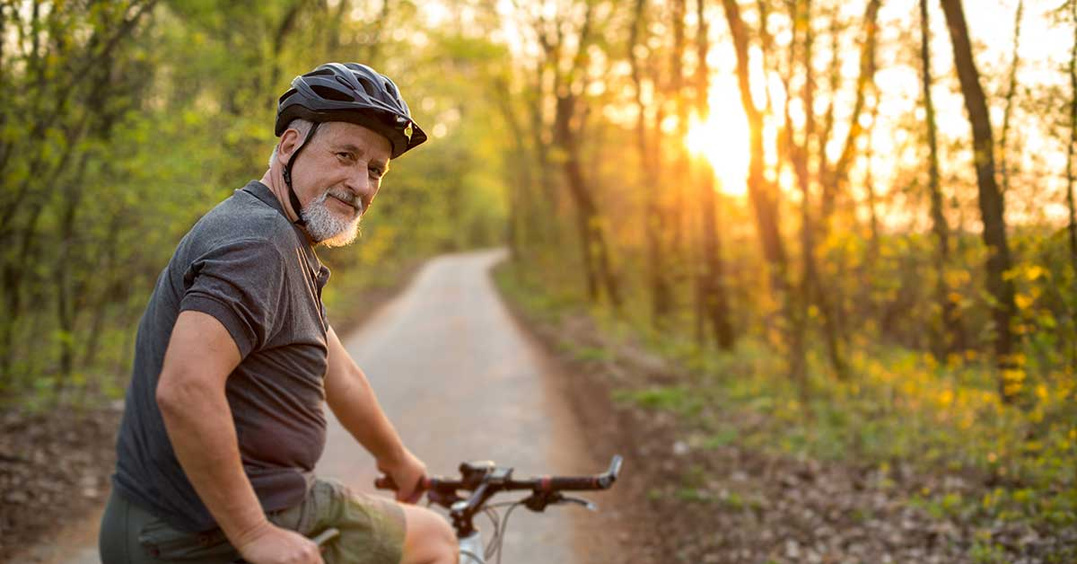 older man on a bicycle