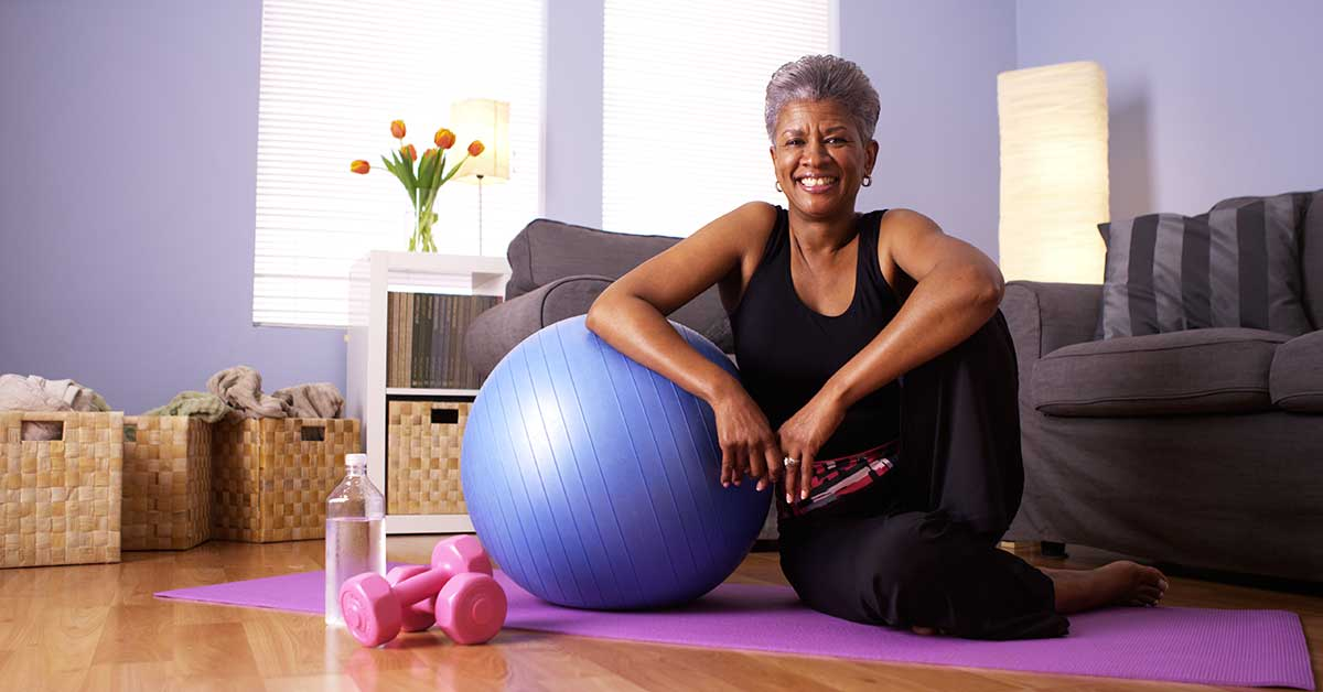 Happy older person who has exercised