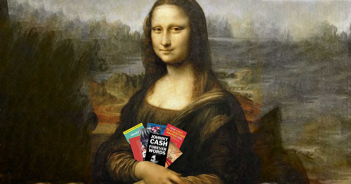 The Mona Lisa with this months books