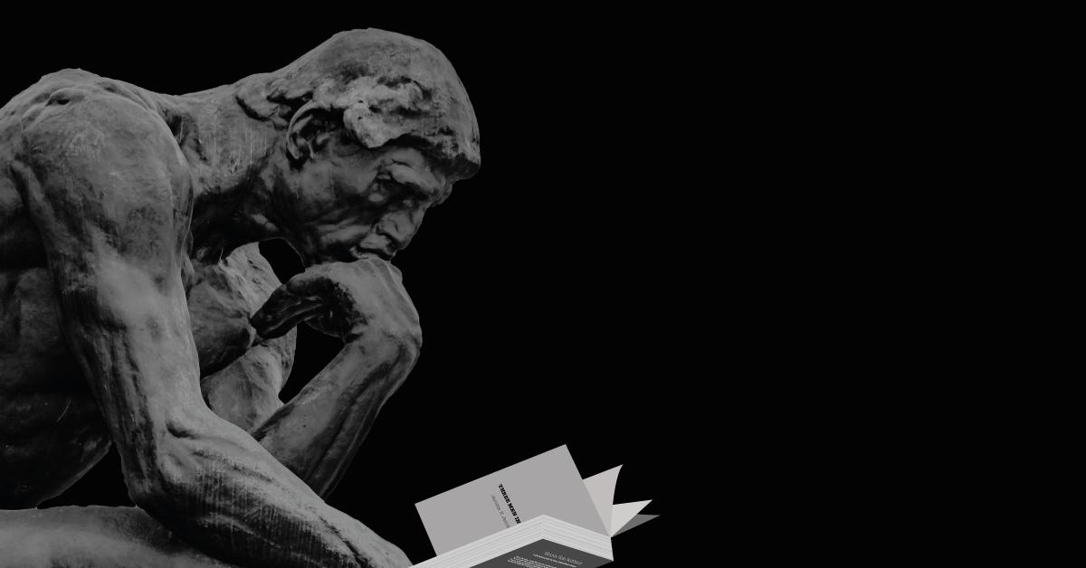 Rodins thinker reading Three Men in a Boat