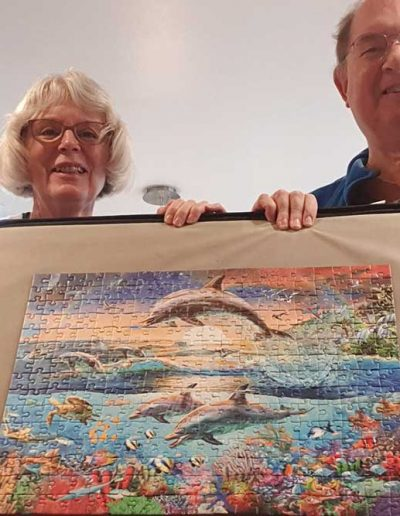 Peter and Margaret and their finished jigsaw