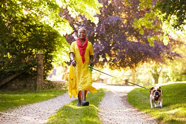 Older person walking the dog in the country
