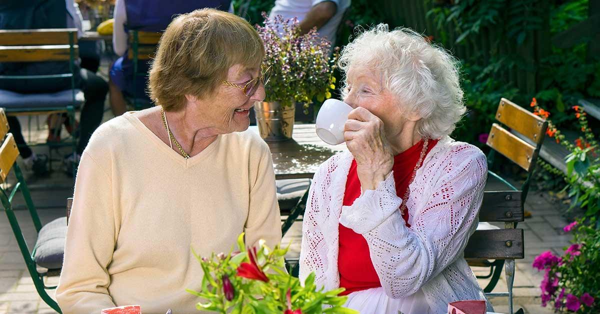 Two women enjoying tea