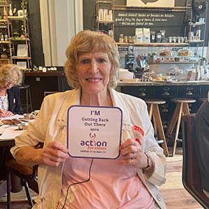 Shirley at the Action for Elders Tea Party
